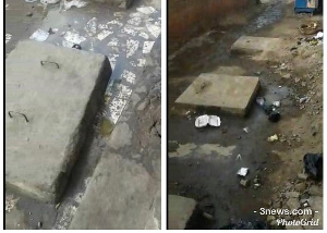 The stench emanates from a leaked manhole of the rented barracks