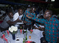 Mr. Blay exchanging pleasantries with some of the guests at the party