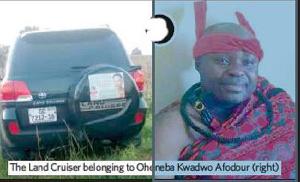 Otumfuo Asamponghene, Oheneba Kwadwo Afodour was murdered in his Landcruiser vehicle