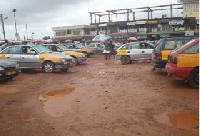 Sunyani taxi rank flooded and full of potholes