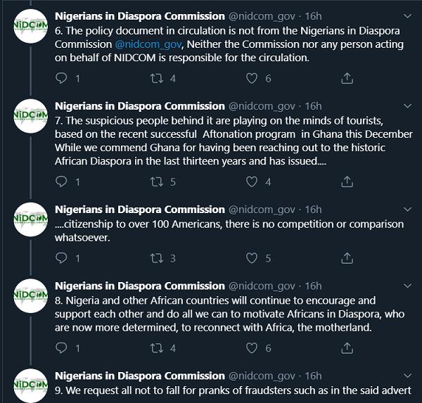 Nigerian Diaspora Commission denounces unauthorised; Door of Return campaign