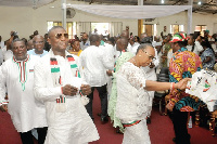 Some executive members of the NDC dancing during the service