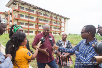 Former President, John Dramani Mahama being interviewed at one of the E Block schools