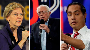 Elizabeth Warren (L), Bernie Sanders (C) and Julián Castro (R) are all contenders for the Democratic