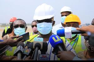 Aviation Minister, Joseph Kofi Adda speaking to journalists