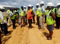 Richard Dombo briefing journalists on a 60.1km stretch of the project, with work ongoing