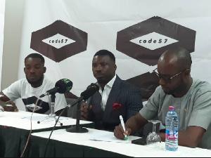Pastor David Augustine Nii Adjaye [C] during the press briefing