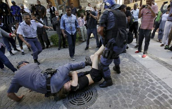 South African student protesters clashed with police in feisty clashes over fee hikes. [Reuters]