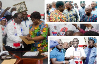 Freddie Blay picks his nomination forms. INSETS: John Boadu and Sammy Awuku with some supporters