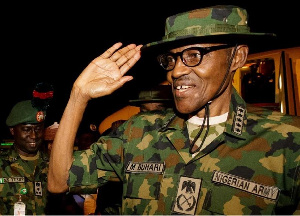 Nigerian president Muhammadu Buhari in military uniform