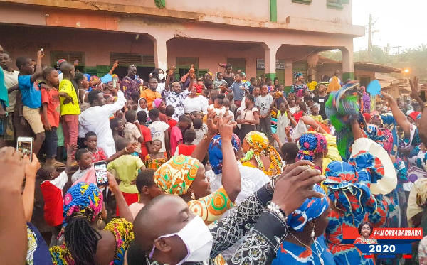 The Minister, Barbara Oteng-Gyasi was welcomed by the crowd