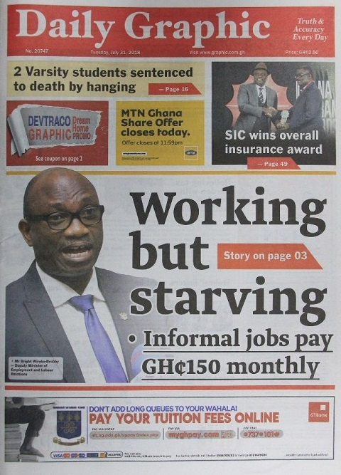 FrontPage headlines of Daily Graphic