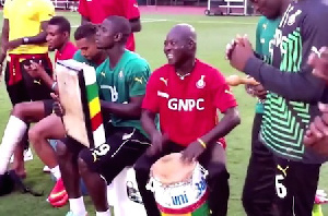 Joseph Langabelle (middle with his drum)