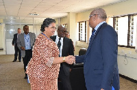 Hanna Tetteh in a handshake with a staff of the UN office in Kenya