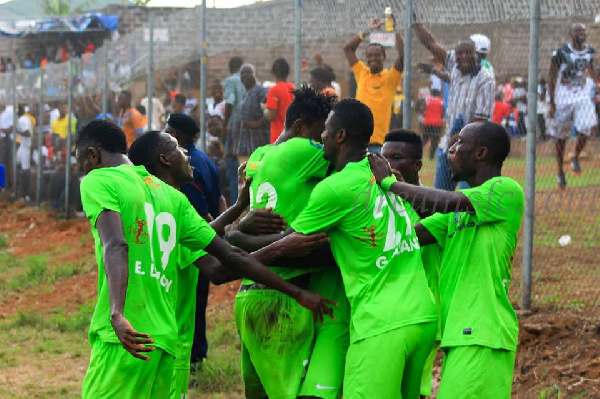Dreams FC players jubilating after a win