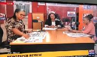 Charlotte osei hosts the Joyfm Super Morning Show with GHOne's Nana Aba Anamoah and Araba Koomson