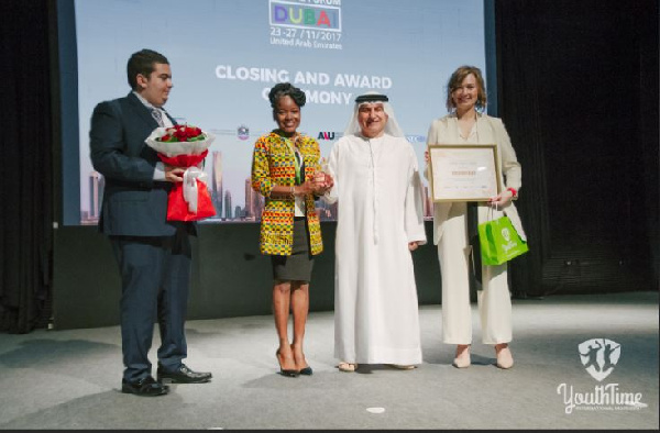 Aurelia Attipoe (2nd from left) winner of 3rd Annual Youth Global Forum