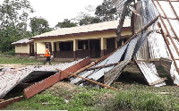 The roof of the new school building for the Patakro & the Woman No Good communities were ripped off