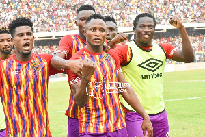Asante Kotoko and Accra Hearts of Oak players in a Ghana Premier League game