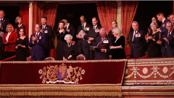 Members of the Royal Family and Prime Minister Theresa May watched from their box