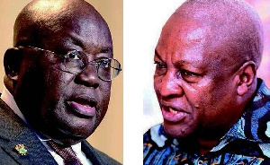 Nana Akufo-Addo (L) and John Mahama