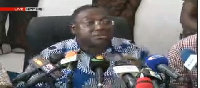 Yaw Buabeng Asamoah, Communications Director of the NPP is addressing pressmen