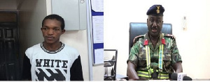 The suspect (L) and the Tema Port Security Manager, Colonel Emmanuel Nyante (R)