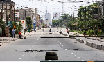 Lagos streets were mainly empty on Saturday morning [Temilade Adelaja/Reuters]
