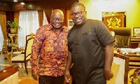 President Nana Addo in  a pose with MUSIGA president, 'Obour'