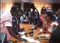 PPP Chairman, Nii Allotey Brew Hammond, presents nomination forms on behalf of Dr. Nduom to EC Chair