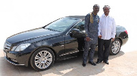 Prophet Emmanuel Badu with Daddy Lumba, one of the beneficiaries
