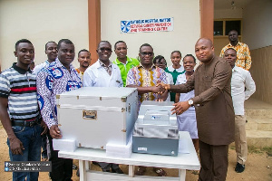 Hon Okudzeto Ablakwa presented the AmpFire HPV Detection System to the hospital earlier today