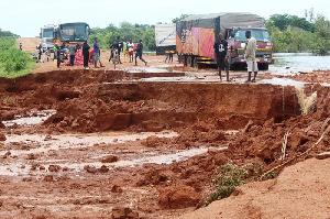The damaged Tumu road