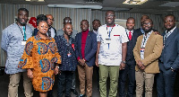 Sammi Awuku with some of the NPP organizers during their meeting in France