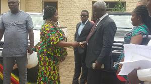 Mrs Adwoa Amoako receiving the logistics