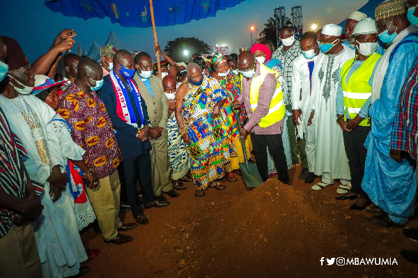 Bawumia cuts sod for rehabilitation of 10-km Berekum town roads