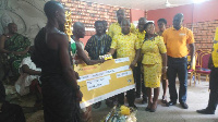 MTN presenting GH¢ 9000.00 and airtime credit to the Kwahu Traditional Council