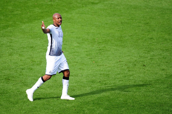 Andre Ayew reacts to Swansea's win at Wycombe Wanderers