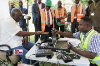 Former President John Agyekum Kufuor getting his Ghana Card