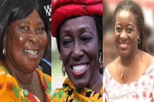 The three female presidential aspirants - Akua Donkor, Konadu Rawlings and Brigitte Dzogbenuku