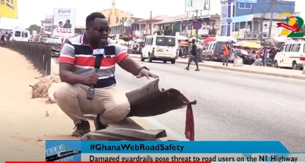 #GhanaWebRoadSafety: Damaged highway guard rails on N1 posing threat to drivers, pedestrians