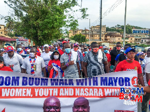 Supporters of the New Patriotic Party at the health walk