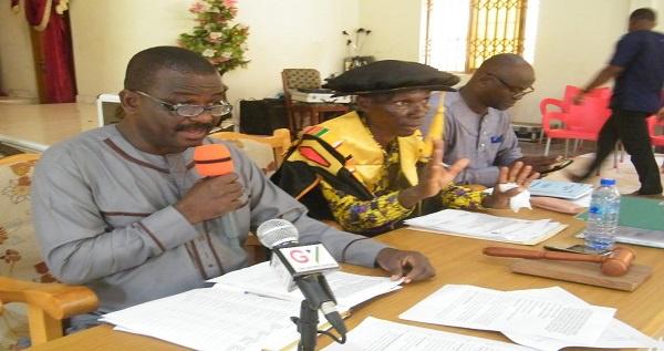 DCE of Awutu Senya Assembly Stephen Kwame Quaye addressing the audience