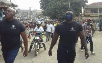 These heavily built men were seen carrying out security duties at the party's recent unity walk