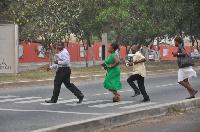Pedestrians using a zebra crossing