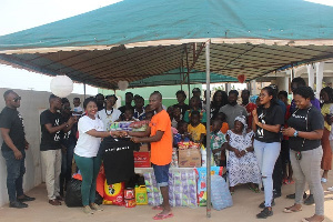 The group presented food items, toiletries and clothing worth GH