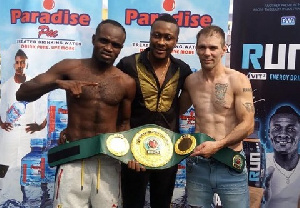 Baffour Gyan (middle) believes Dogboe will be no match for Emmanuel Tagoe