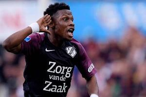 Abass Issah celebrating his first goal for FC Utrecht