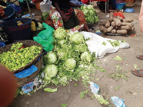 Vegetables on the floor
