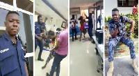 The policeman was seen in a video beating a woman carrying a baby at the Shiashie branch of Miidland